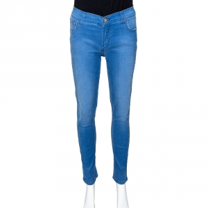 Carolina Herrera Blue Denim Frayed Detail Skinny Jeans M