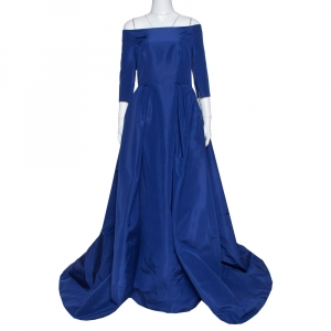 Carolina Herrera Royal Blue Silk Off Shoulder Gown L used