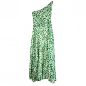 Carolina Herrera Green and White Floral Chiffon Dress M