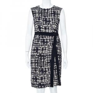 CH Carolina Herrera Navy Blue & Beige Wool Jacquard Sleeveless Sheath Dress M - used
