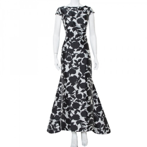 CH Carolina Herrera Monochrome Printed Scoop Back Sleeveless Gown L - used