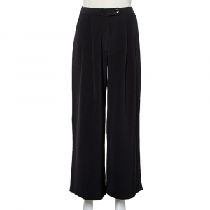 Carolina Herrera Black Crepe Pleated Palazzo Pants S