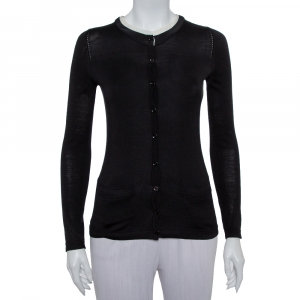 Carolina Herrera Black Knit Contrast Neck Detail Button Front Cardigan XS