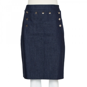 CH Carolina Herrera Navy Blue Denim Button Detail Knee Length Skirt L