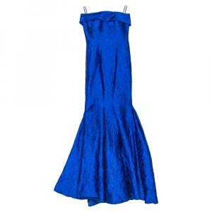 CH Carolina Herrera Royal Blue Crinkled Jacquard Strapless Gown S - used