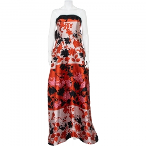 Carolina Herrera Multicolor Floral Jacquard Strapless Gown L - used