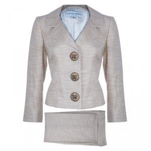 Carolina Herrera Beige Metallic Pant Suit M