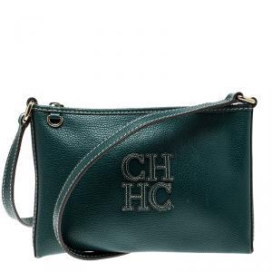 Carolina Herrera Green Leather Logo CH Crossbody