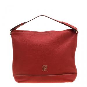 Carolina Hererra Red Pebbled Leather Hobo