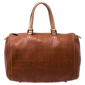 Carolina Herrera Brown Leather Large Andy Boston Bag