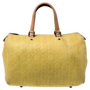 Carolina Herrera Yellow Leather Large Andy Boston Bag