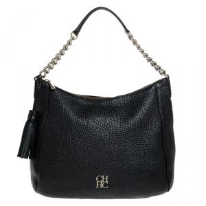 Carolina Herrera Black Leather Tassel Chain Hobo