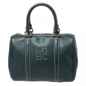 Carolina Herrera Green Leather Andy Boston Bag