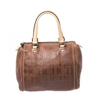 Carolina Herrera Brown Leather Small Andy Boston Bag