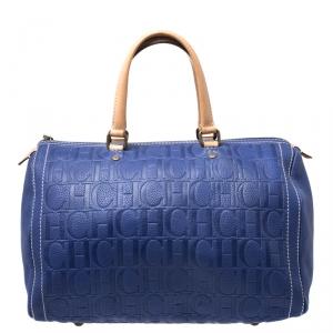 Carolina Herrera Purple Monorgam Embossed Leather Large Andy Boston Bag
