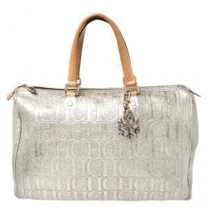 Carolina Herrera Metallic Gold Large Andy Boston Bag with Charm