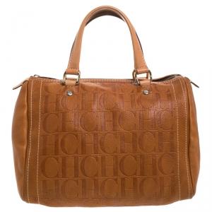 Carolina Herrera Brown Leather Medium Andy Boston Bag