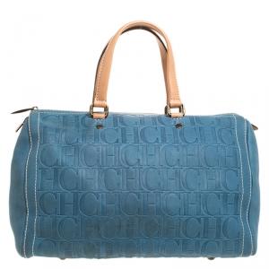 Carolina Herrera Light Blue Monogram Leather Large Andy Boston Bag