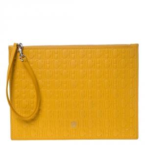 Carolina Herrera Mustard Embossed Leather Continental Pouch