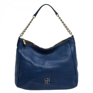Carolina Herrera Blue Leather Chain Hobo
