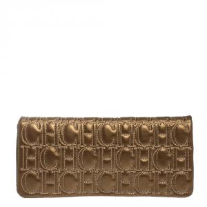 Carolina Herrera Gold Monogram Leather Flap Clutch