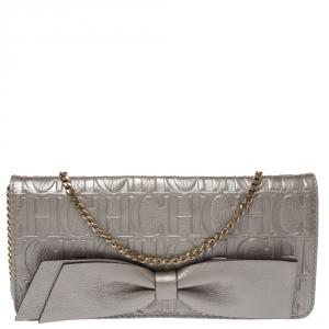Carolina Herrera Silver Monogram Leather Bow Chain Clutch