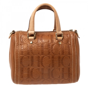 Carolina Herrera Signature Tan Leather Mini Andy Boston Bag