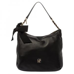 Carolina Herrera Black Leather Bow Zip Hobo