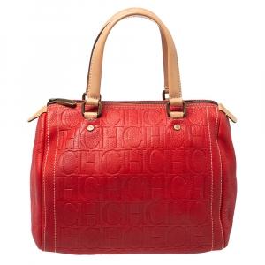 Carolina Herrera Red/Beige Monogram Embossed Leather Andy Satchel