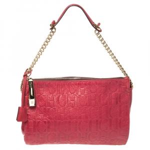 Carolina Herrera Red Monogram Leather Shoulder Bag
