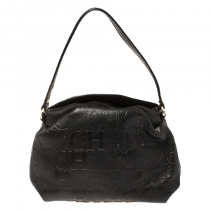 Carolina Herrera Black Monogram Leather Satchel