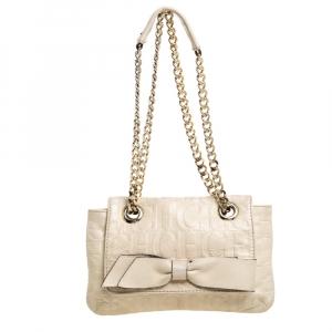 Carolina Herrera Beige Monogram Leather Audrey Shoulder Bag