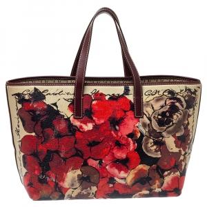 Carolina Herrera Multicolor Floral Print Leather Shopper Tote