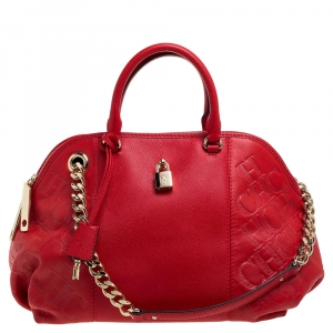 Carolina Herrera Red Leather Dahlia Satchel