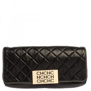 Carolina Herrera Black Quilted Leather Clutch