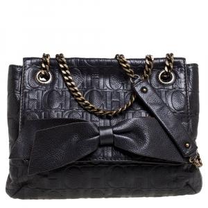 Carolina Herrera Dark Brown Embossed Leather Audrey Shoulder Bag