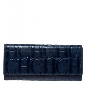 Carolina Herrera Blue Monogram Leather Continental Wallet
