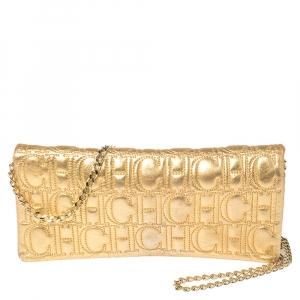 Carolina Herrera Gold Monogram Leather Jerry Chain Clutch