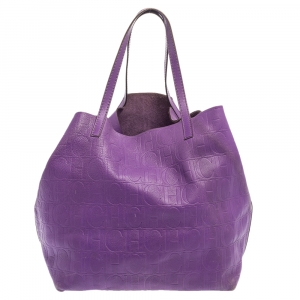 Carolina Herrera Purple Monogram Leather Matryoshka Tote