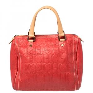 Carolina Herrera Red Monogram Leather Andy Boston Bag