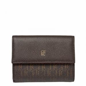 Carolina Herrera Brown Monogram Leather Tri Fold Compact Wallet