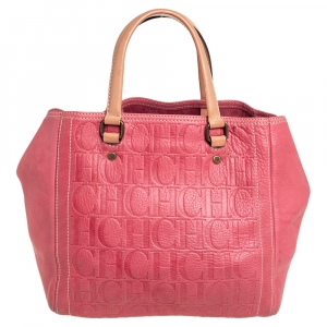 Carolina Herrera Pink Monogram Leather Tote