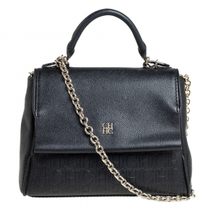 Carolina Herrera Black Leather Small Minuetto Top Handle Bag