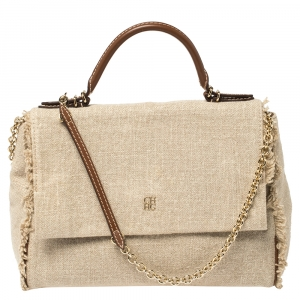 Carolina Herrera Beige Canvas Minuetto Flap Top Handle Bag