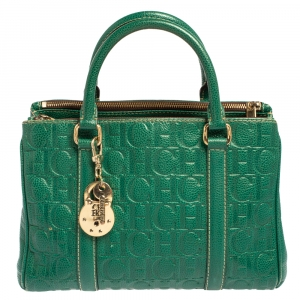Carolina Herrera Green Embossed Leather Matteo Tote