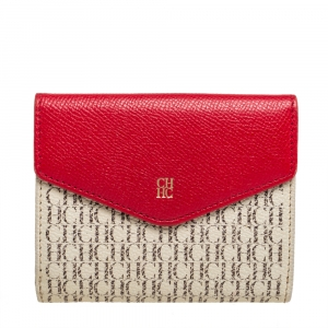 Carolina Herrera Red Monogram Coated Canvas and Leather Compact Wallet