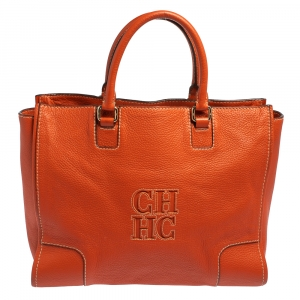 Carolina Herrera Orange Leather Shopper Tote