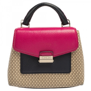 Carolina Herrera Multicolor Monogram Coated Canvas and Leather Carry On Top Handle Bag
