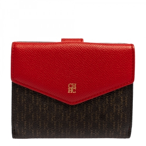Carolina Herrera Red/Brown Monogram Coated Canvas and Leather Flap Compact Wallet