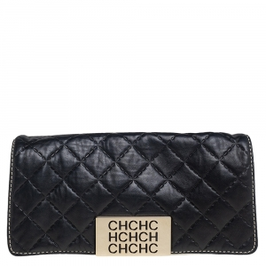 Carolina Herrera Black Quilted Leather Logo Flap Clutch